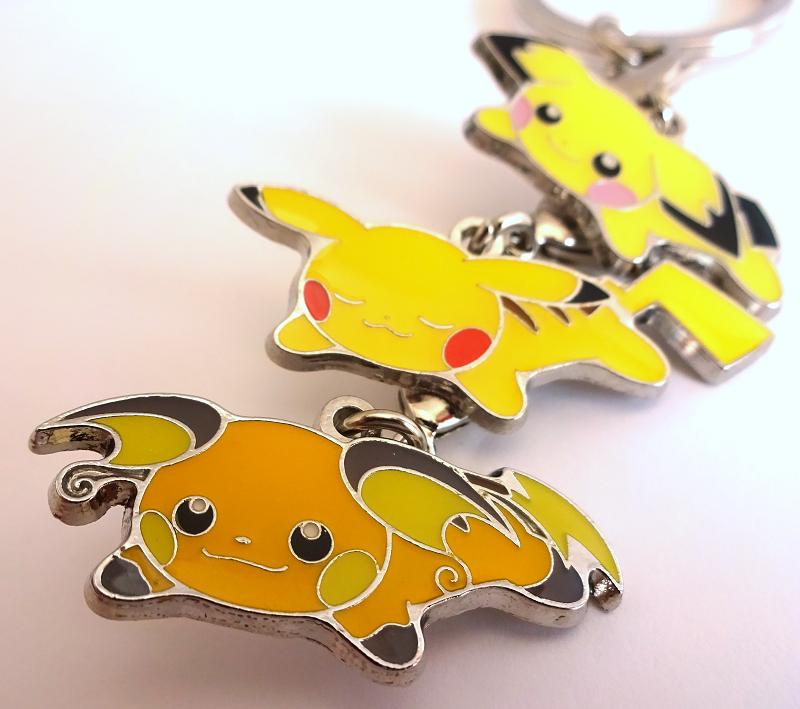 3 Pokemon Center Original Relaxing Pichu Pikachu Raichu Keyholder